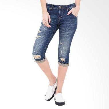 People's Denim Ladies Katlyn Ripped Ru 3/4 Slim Fit - Biru