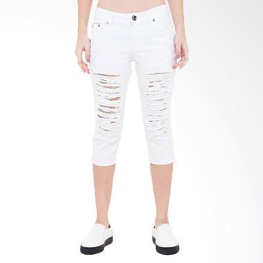 People's Denim Nikeisha Ripped 7/8 Slim Fit Celana Wanita - Putih