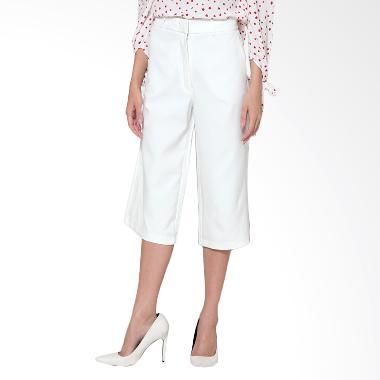 Duapola Pocket Loose Midi Kulot Celana Wanita - White