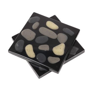 DXI Living Tile Coaster Faux Stones Hitam Set Tatakan Gelas [2 pcs]