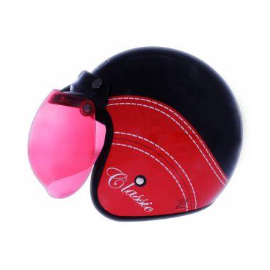 WTO Helmet Retro Bogo Classic Hitam Merah Helm Half Face