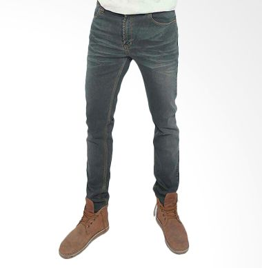 2ndRED Slim Fit 133223 wiskers Dark Grey Celana Jeans Pria