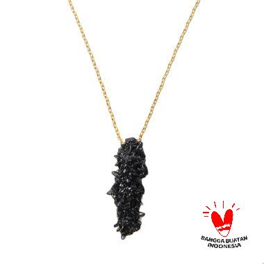 Environmental Jewelry Long Black Stone With Gold Long Chain Necklace