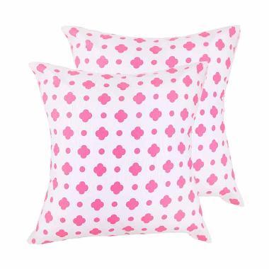 Eolins Bunga Clover JSPS018 Sarung Bantal Sofa - Pink [2 pcs]