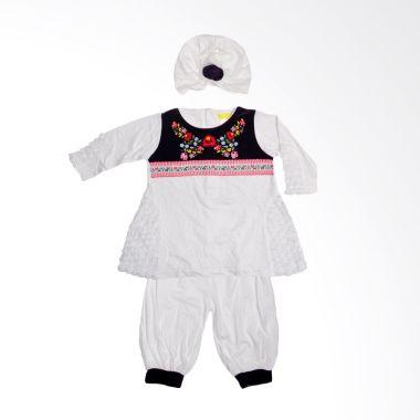 Eyka velvet Putih Set Baju Muslim Anak