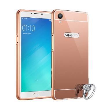 Fashion Case Bumper Mirror Alumunium Metal Sliding Hardcase Casing for Oppo F1 Plus - Rose gold