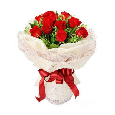 Flower Advisor Love Promise Red Roses Flower Bouquet [12 tangkai]