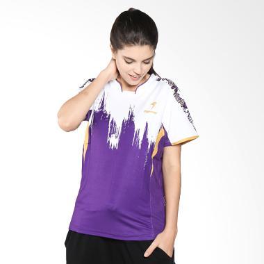 Flypower Mandala Advantage Logo Kaos Badminton Wanita - White Purple