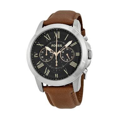 Jam Tangan Pria Fossil FS4813 Grant Chronograph Black Dial