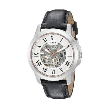 Fossil ME3101 Jam Tangan Pria Automatic Leather Strap Black Silver