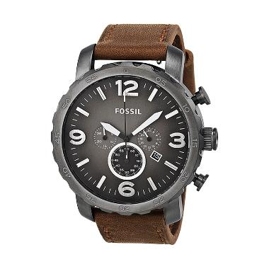 FOSSIL Nate Chronograph Brown Leather Jam Tangan Pria