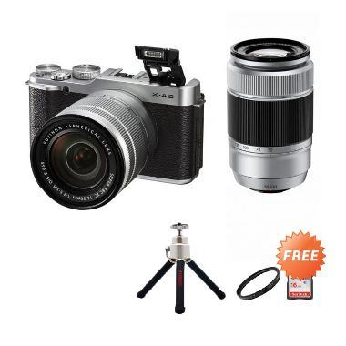 FUJIFILM X-A2 Double Kit XC16-50mm + XC50-230mm Silver + Screen Guard + SDHC 16GB + Filter UV 58mm (2) + Sling Camera Bag