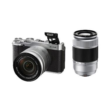 FUJIFILM X-A2 Double Kit XC16-50mm + XC50-230mm Silver + Screen Guard + SDHC 8GB