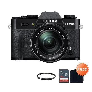 FUJIFILM X-T10 Kit XC16-50mm Black + Screen Guard + SDHC 16GB + Filter UV 58mm + Sling Camera Bag