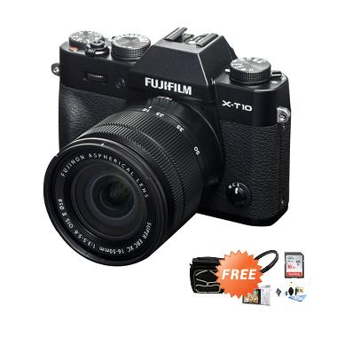 Fujifilm X-T10 Kit XC16-50mm F3.5-5.6 OIS Black Kamera Mirrorless [16.3 MP] + Tas Kamera + Screen Protector + Filter UV 58mm + SDHC 16GB + Cleaning Kit