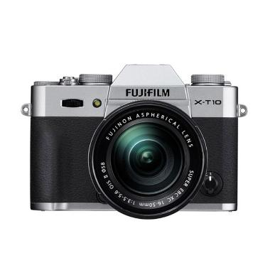 Fujifilm X-T10 Kit XF 16-50mm Kamera Mirrorless - Silver + Screen Guard + SDHC 8GB