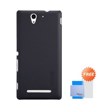Nillkin Super Frosted Shield Black Casing for Sony Xperia C3 + Nillkin Screen Protector