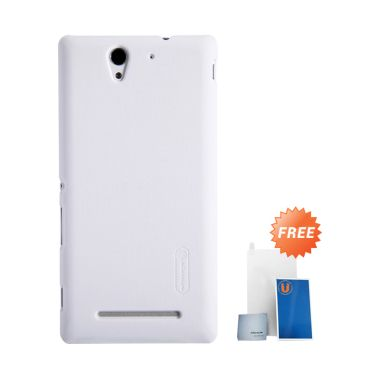 Nillkin Super Frosted Shield White Casing for Sony Xperia C3 + Screen Protector