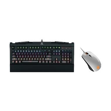 Gamdias Hermes 7 Color Keyboard Bundling Rival 100 Mouse - White