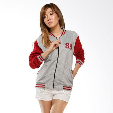 GatsuOne Doris Jaket - Light Grey Maroon