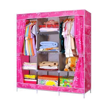 Godric Lemari Baju / Rak Pakaian /  ...  170 CM - Dot Flower Pink