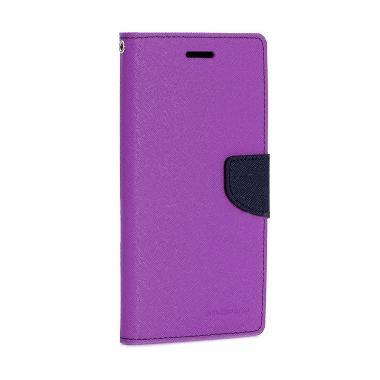 Goospery Mercury Fancy Diary Wallet Flipcover Casing for LG G4 Stylus - Purple Navy