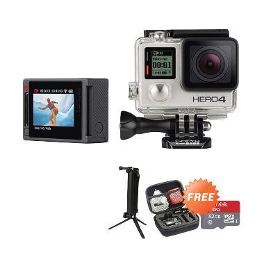 Gopro Hero 4 Action Cam - Silver +  ... bag + Sandisk Ultra 32 GB