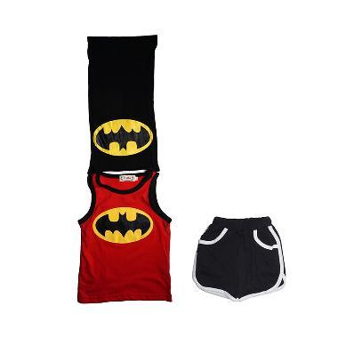 Gregbebeshop Lnice Batman Setelan Anak Laki laki - Merah Hitam