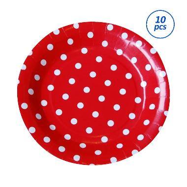 Grins and Giggles Dot Paper Plate - Merah