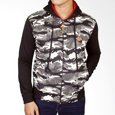Gudang Fashion JAK 2187 Denim Hoodie Jeans Jaket Pria - Black