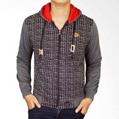 Gudang Fashion JAK 2188 Denim Hoodie Jeans Jaket Pria - Grey