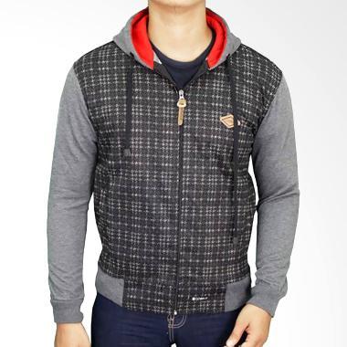 Gudang Fashion JAK 2194 Jeans Hoodie Jaket Pria - Grey