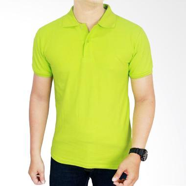 Gudang Fashion Kaos Polos Kerah POL 70 Hijau Stabilo Atasan Pria