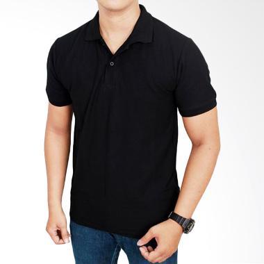Gudang Fashion Kaos Polos Kerah POL 53 Hitam Atasan Pria