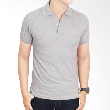 Gudang Fashion Kaos Polos Kerah POL 68 Grey Atasan Pria