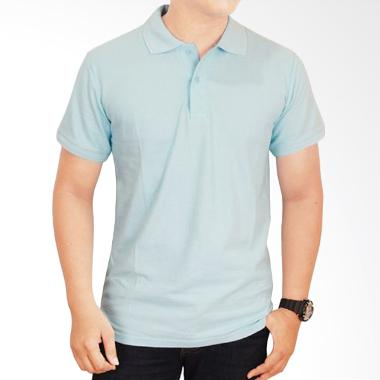 Gudang Fashion Kaos Polos Kerah POL 66 Turkis Muda Atasan Pria