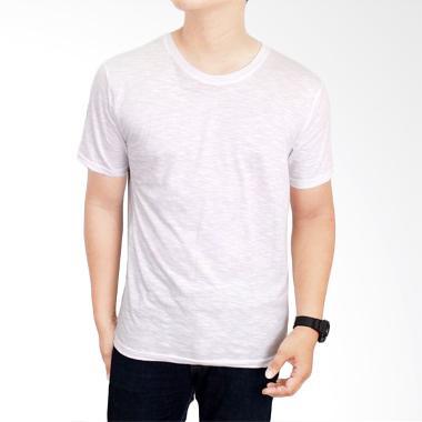 Gudang Fashion Kaos Polos Pendek Slub White Atasan Pria