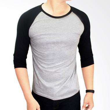 Gudang Fashion Kaos Polos POL 25 Co ... bu Kombinasi Hitam Raglan