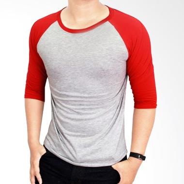 Gudang Fashion POL 27 Kaos Polos Co ... bu Kombinasi Merah Raglan