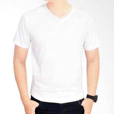 Gudang Fashion POL 31 Kaos Polos V- ...  combed 20S Putih T-shirt