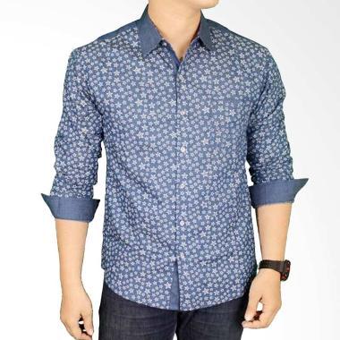 harga Gudang Fashion LNG 1654 Kemeja Casual Lelaki Katun Atasan Pria - Navy Blibli.com