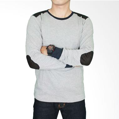 Gudang Fashion PAN 837 Motif Baby Tery Kaos Panjang Pria - Grey