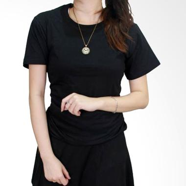 Gudang Fashion POLW 13 Kaos O-neck  ... S20 Atasan Wanita - Black
