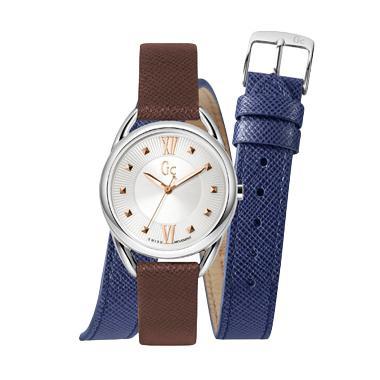 Guess Collection Gc Twist Y13001L1 Leather Jam Tangan Wanita - Brown Silver