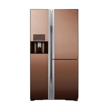 Hitachi SBS Premium R-M80GPGD2X Mirror Brown Kulkas [Kab.Bandung]