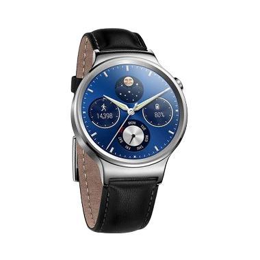 huawei smartwatch black. huawei w1 scls leather strap smartwatch - black silver