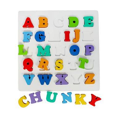 TME Mainan Kayu Chunky Puzzle Huruf Besar Mainan Anak