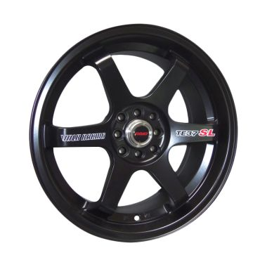 Replika Volkrays TE37 SL Black Velg Mobil [16 Inch PCD 4x100 / 4x114.3 GRATIS INSTALASI]