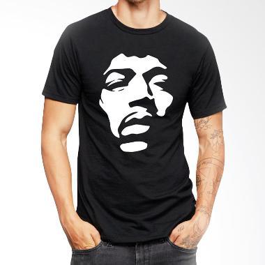 JersiClothing Jimi Hendrix Velvet Flock Print Black Kaos Pria
