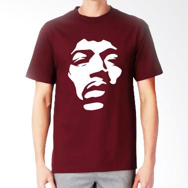 JersiClothing Jimi Hendrix Velvet Flock Print Maroon Kaos Pria